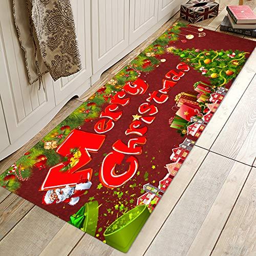 HJFGIRL Weihnachten Teppich Teppich 3D Santa Claus Bodenmatte Langlebige Weihnachten Home Decor Bodenteppiche Frohe Weihnachten Willkommen Fußmatten Indoor Home Teppiche Dekor,D,40x60cm(16x24inch)