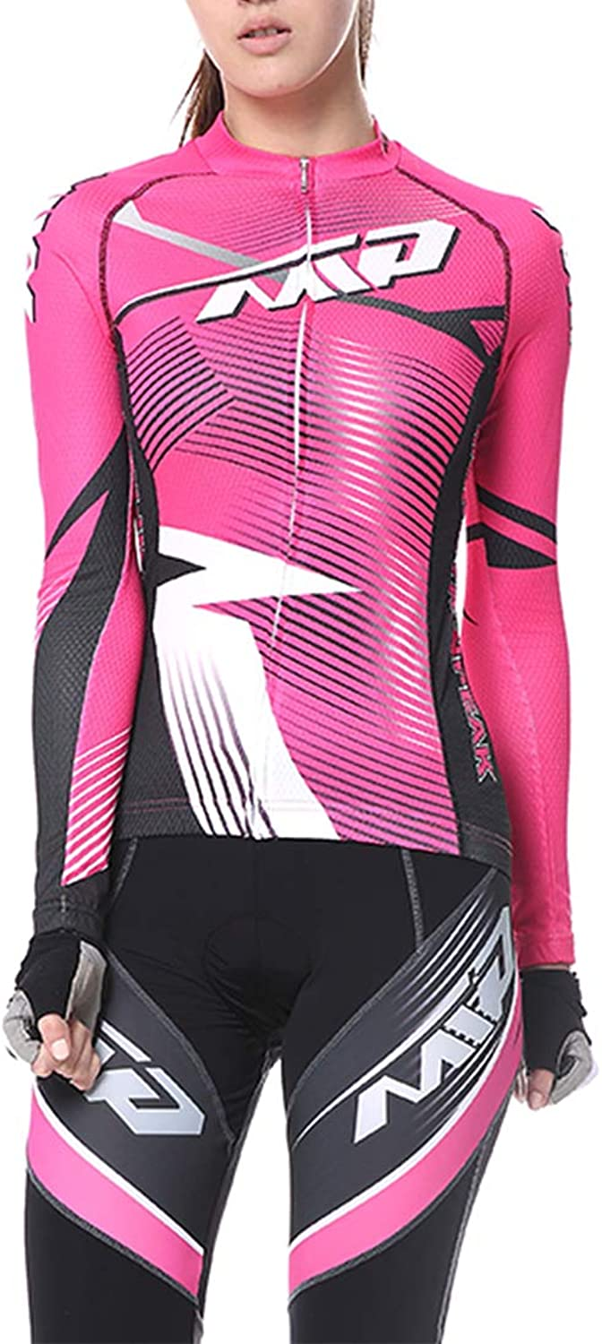 Alomoc Cycling Jersey Long Sleeve Quick Dry Biking Shirts with 3D Cushion Pants