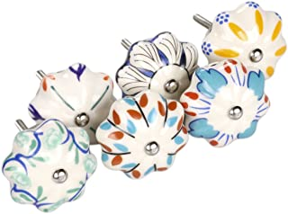 uxcell 6 Pieces Vintage Shabby Knobs Colorful Floral Hand Painted Ceramic Pumpkin Cupboard Wardrobe Cabinet Drawer Door Handles Pulls Knob, Mixed Color #1