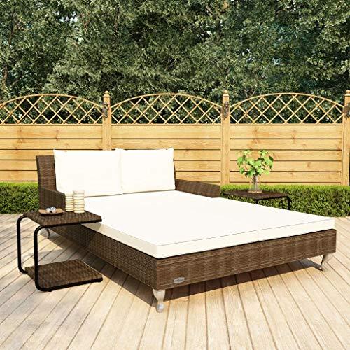 vidaXL Sonnenliege 2-Personen mit Auflagen Doppelliege Gartenliege Relaxliege Liege Strandliege Gartenmöbel Rattanmöbel Poly Rattan Braun - 6