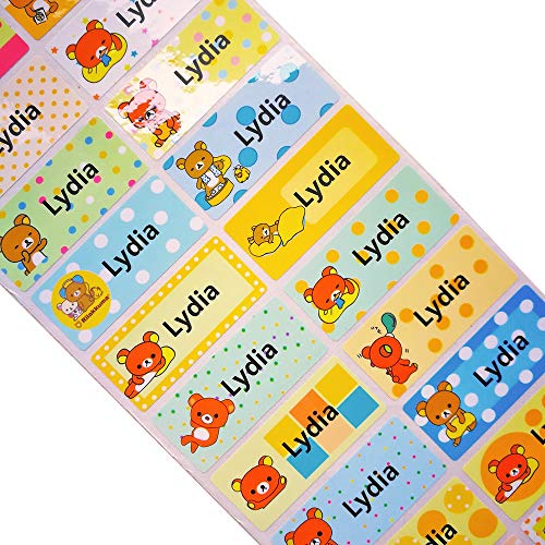3size Cute Cartoon Bear Stickers Boy Waterproof Personal Labels Girls Custom Name Stickers Children Scrapbook Tag