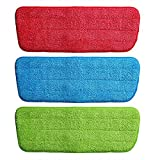 VRIZON Microfiber Spray Mop Replacement Heads Pads Floor Cleaning Cloth Paste to Replace Cloth Household Cleaning Mop Accessories - 3Pcs Set, Multicolor