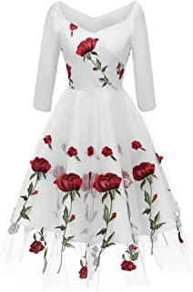 off the shoulder flower vintage dress white