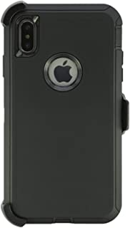 WallSkiN Turtle Series Cases for iPhone Xs Max (Only) Tough Protection with Kickstand & Holster - Shadow (Black/Black)