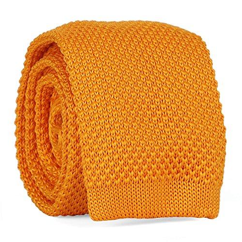 Cravate Tricot Jaune orange - Cravate Maille Tendance
