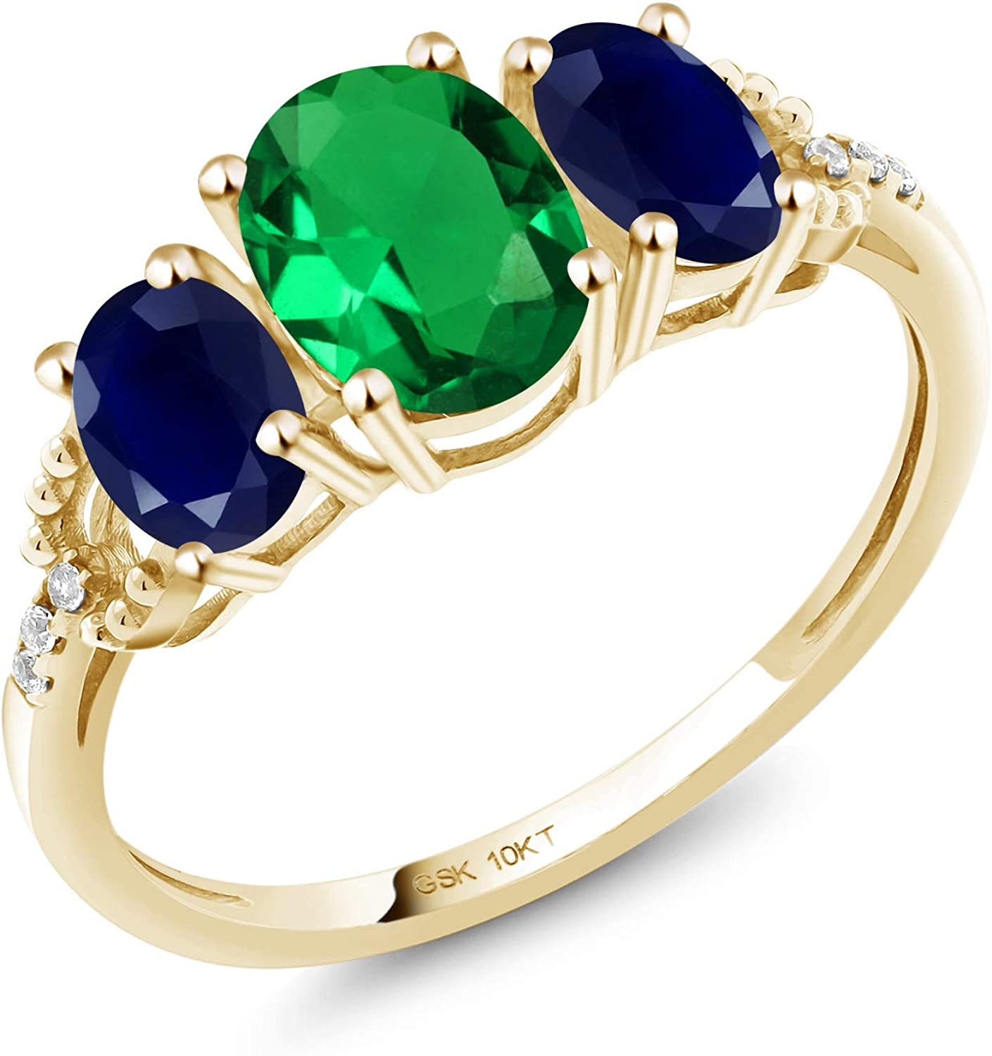 Gem Stone King 10K Yellow Gold Engagement Ring 1.72 Ct Oval Green Simulated Emerald Blue Sapphire