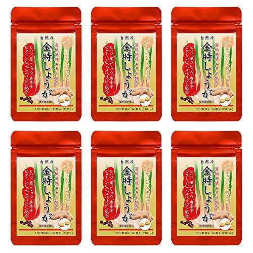 自然力 金時しょうが粒 60粒入 6袋セット|金時生姜末に酒粕発酵エキス、ヒハツ、黒胡椒配合/大日ヘルシーフーズ