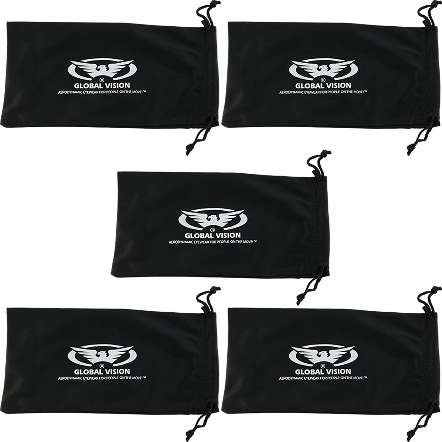 Five Large Black Micro-Fiber Bags Sunglasses Goggles Cell Phone Carrying Pouch Case Sleeve