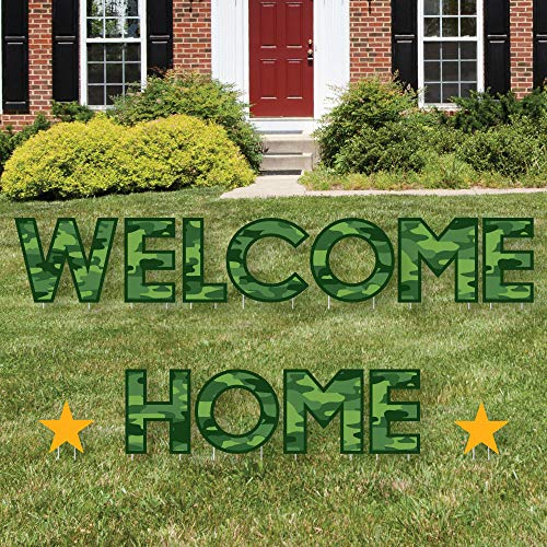 Big Dot of Happiness Welcome Home Hero - Yard Sign Outdoor Lawn Decorations - Military Army Homecoming Yard Signs - Welcome Home
