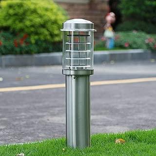 Bloomry Simple Silver White Stainless Steel Bollard LED Pathway Light, Waterproof Lawn Lantern Landscape External Column Lamp E27 Path Villa Courtyard Outdoor Lighting (Size : M-60cm)