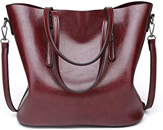 Pahajim fashion Women PU Leather Bucket Bag business Purses Tote Top Handle Satchel Shoulder with Zipper for Ladies