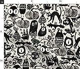 Spoonflower Stoff – Gothic Halloween Monster schwarz weiß