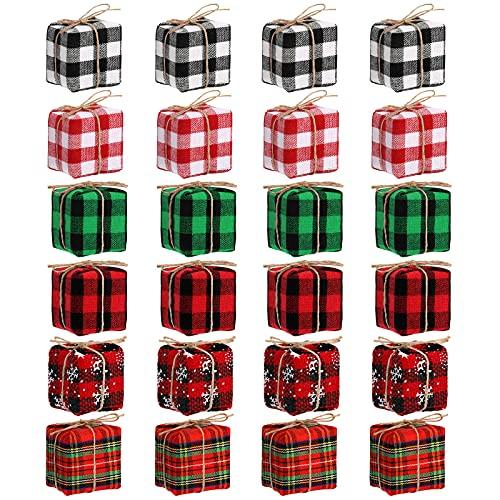 24 Pieces Mini Presents for Crafts Buffalo Plaid Christmas Tree Decoration...