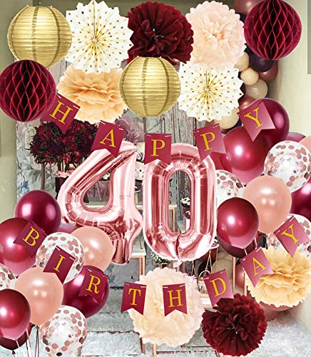 40th Birthday Decorations for Women Burgundy Rose Gold Birthday Party Decorations Polka Dot Fans 40th Birthday Balloons Fall Burgundy Rose Gold 40 Birthday Decorations Autumn