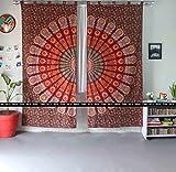 Art Box Store orange Baumwolle Wand Vorhang indische Hippie Fenster Vorhang Tapisserie Bohemian Raumteiler Vorhänge Mandala Wand Vorhänge Boho Décor Wohnheim Fall indischen Fenster Vorhänge Pfau