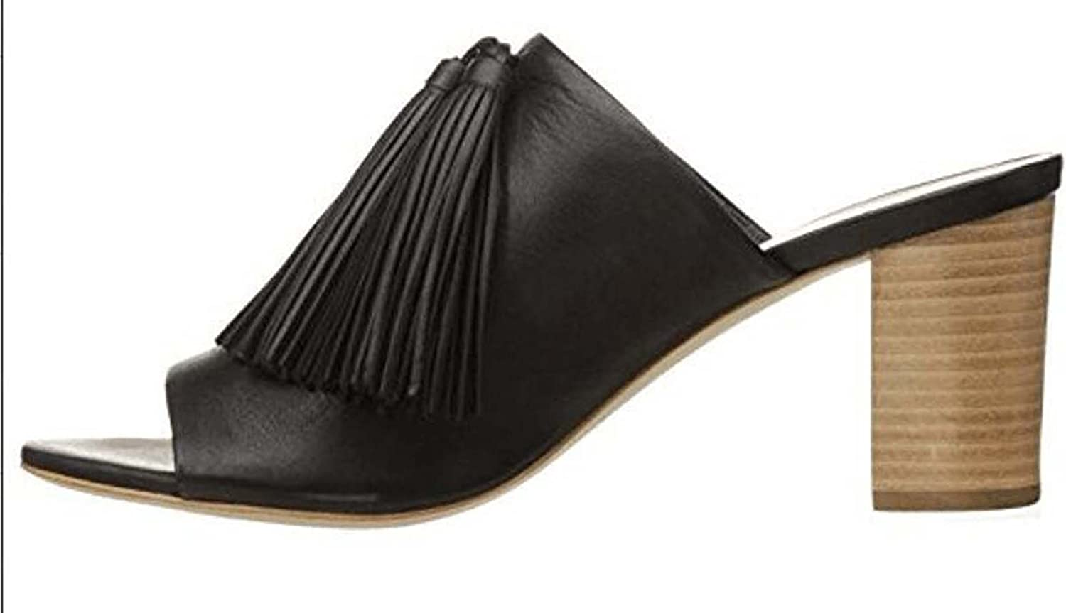 Lady Black Tassel Toe Toe High Heel Slippers European and American Comfort Thick and Cool Slippers