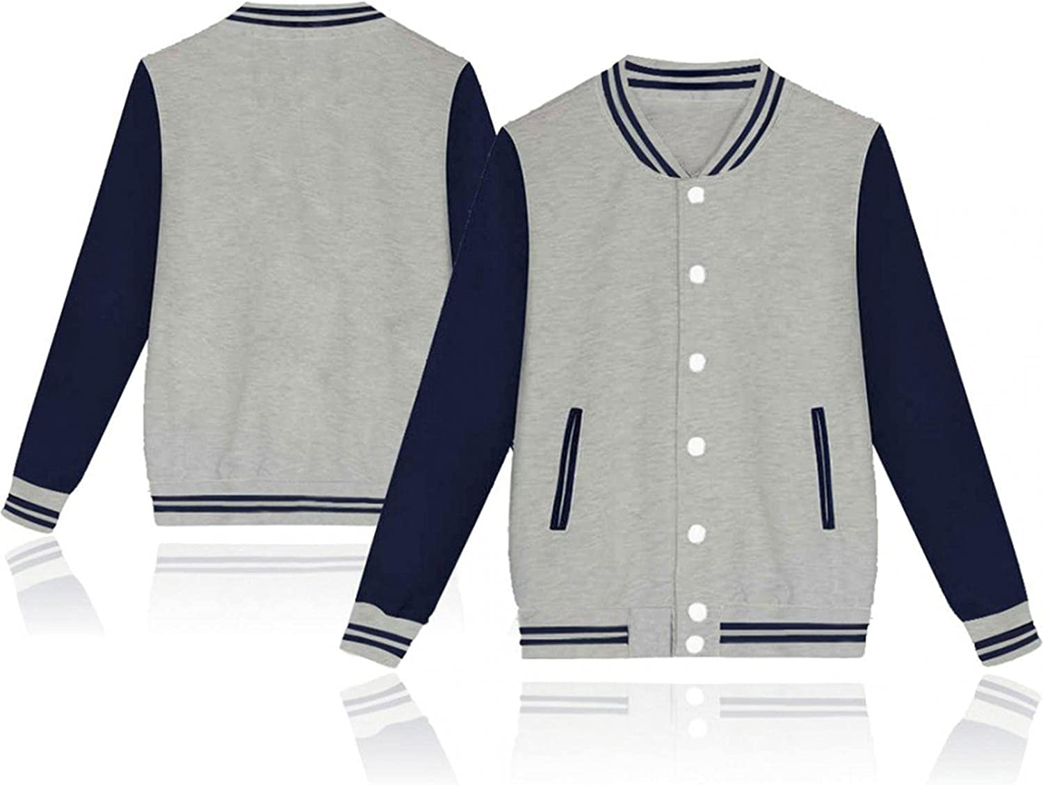 Men's Varsity Baseball Jackets Casual Patchwork Button Down Bomber Coats Soft Cotton Premium Outwear Tops for Unisex
