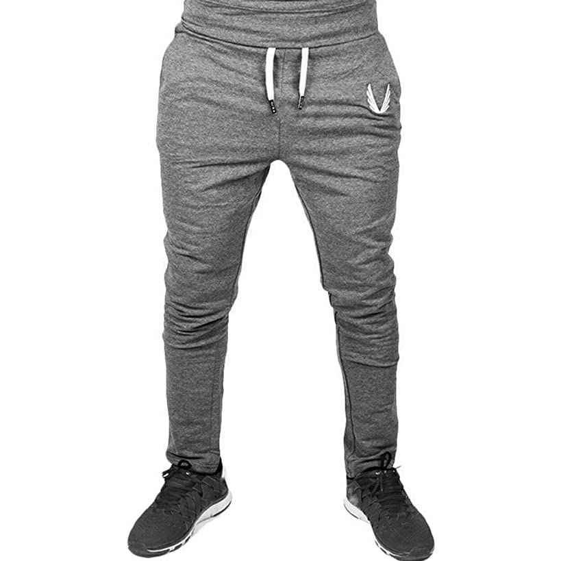 ?QueenBB? Men Sportswear Casual Elastic Fitness Workout Running Gym Pants Trousers 4 Colors (M, Black)