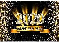 新しい2020新年あけましておめでとうございます背景7x5ftポリエステル生地新年パーティーの写真の背景キラキラ輝く背景新年パーティーフェスティバルお祝い新年写真ブーススタジオの小道具