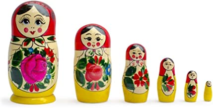 BestPysanky Set of 6 Traditional Semenov Matryoshka Wooden Russian Nesting Dolls 5.5 Inches