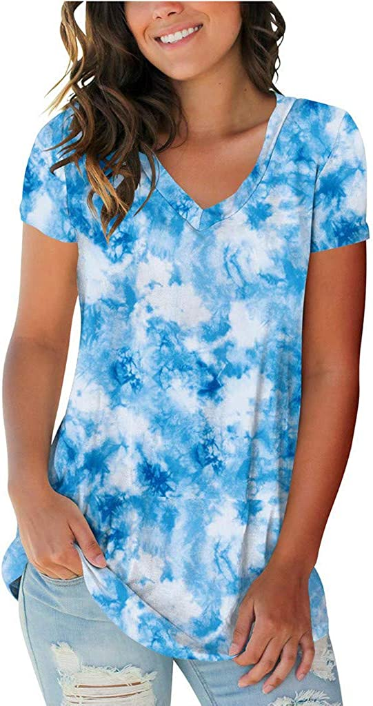 AODONG Summer Tops for Women, Womens Summer Tie Dye Short Sleeve T Shirts Loose Casual Basic Tee Tops and Blouses Shirt
