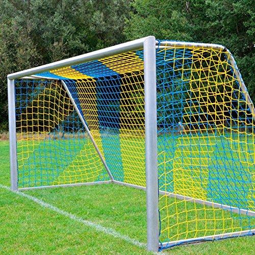 DONET Fußballtornetz 7,5 x 2,5 m Tiefe Oben 0,80 / unten 2,00 m, zweifarbig, PP 4 mm ø, blau/gelb