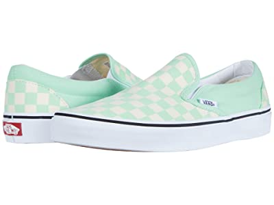 Vans Classic Slip-Ontm ((Checkerboard) Green Ash/True White) Skate Shoes