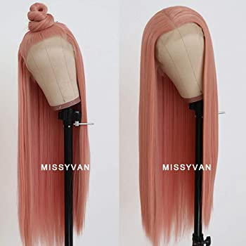 Missyvan Long Straight Hair Pink Color Lace Wigs Glueless Heat Resistant Fiber Hair Synthetic Lace Front Wigs for Fashion Women