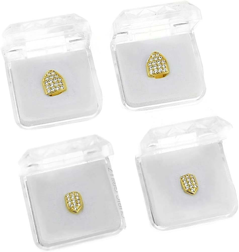 18K Gold Plated Single Cap Tooth Set CZ Cubic Zirconia 2 Top Teeth Plus Two Bottom Iced Canine Cap Grills