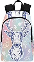 HUAPIN Trendy Sketch Style Deer Casual Daypack Travel Bag College School Backpack for Mens and Women