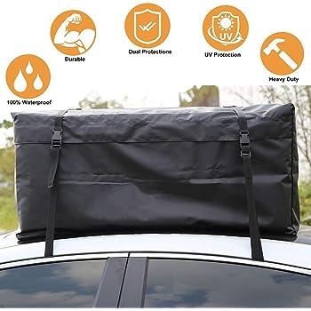 10 Cubic Feet,Black Waterproof PVC Soft Car Roof Bag OCPTY Rooftop Cargo Carrier Bag,Heavy Duty Roof Bag