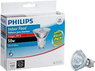 Philips 415760 50-Watt Halogen Indoor Flood MR16 GU10 Base 120-Volt Light Bulb, 6-Pack