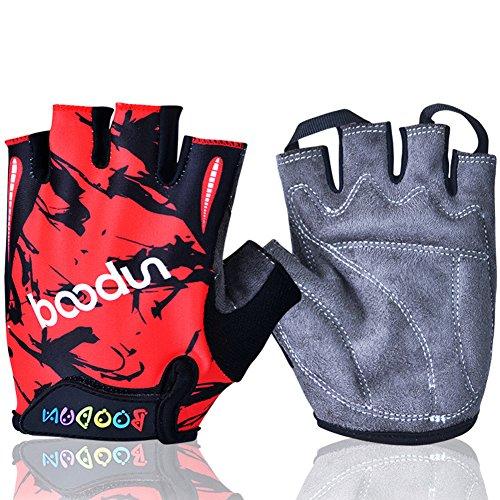 MIFULGOO BDHGF-H Boy Girl Child Children Kid Half Finger Fingerless Short Gloves for Cycling Skate Skateboard Roller Skating (Red, M)
