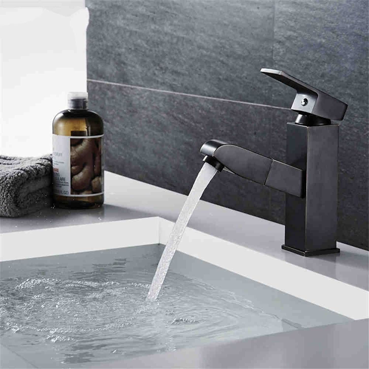AQMMi Bathroom Sink Mixer Tap Brass Pull-Out Oil Rubbed Bronze Hot and Cold Water Extendable Single Lever Taps for Bathroom Sink