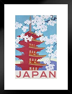 Pyramid America Japan Government Railways Cherry Blossom Vintage Travel Ad Advertising Artwork Pagoda Matted Framed Poster 20x26 inch