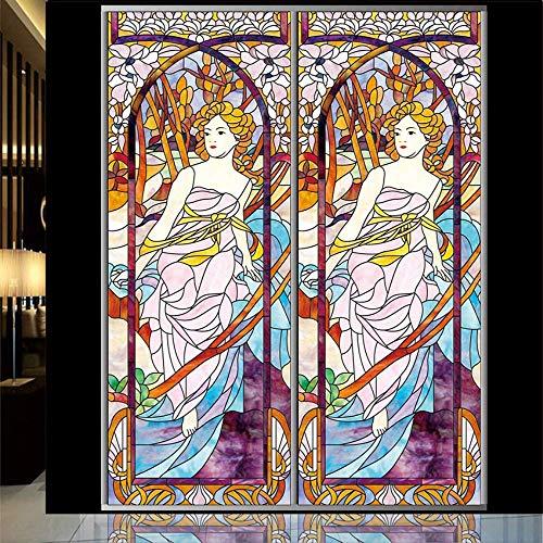 ZKAMANG Durchscheinender Befleckter Kirchenfenster-Film, Kein Kleber-Elektrostatischer Glasaufkleber 80X120Cm