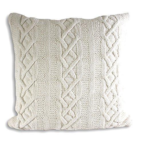 Strick-Kissenbezug aus 100/% Bio-Baumwolle 40 x 40 cm Elfenbein kbA GOTS zertifiziert