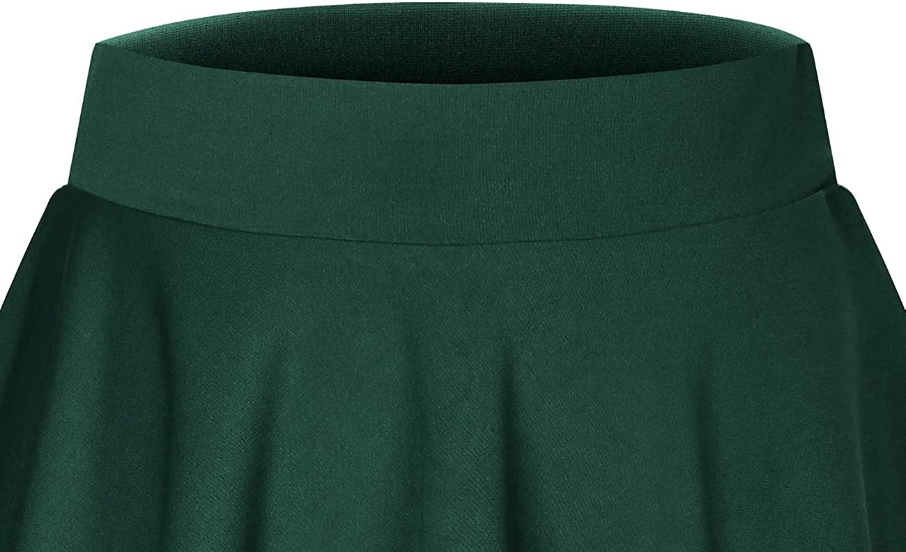 DRESSTELLS Damen Basic Solide Vielseitige Dehnbar Informell Mini Glocken Rock Dark Green-midi