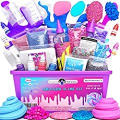 ✔ SLIME LOVERS ESSENTIAL - Finally, the best slime making kit for girls has arrived! Get all you need in one complete box with glue, unicorn beads, inks, variety of texture, slime containers, and more! Plus, a 100% safe slime activator and a manual o...