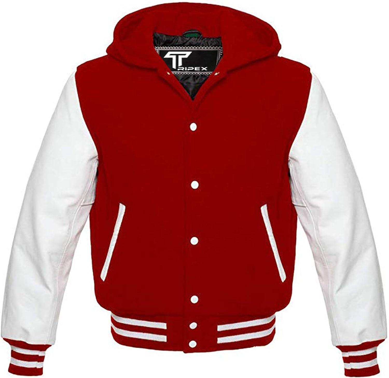 Premium Letterman Baseball School College Bomber Varsity Hoodie Jacket Wool Blend & Genuine Leather Sleeves