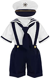 Baby Toddler Boys Nautical Sailor Outfit Short Suit 4 Piece Set