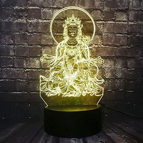 Kreative Geschenke Buddha-Statue 3D Nachtlicht Illusionslampe Smart Touch Switch 7 Farben Ändern Kinder Deko Licht Stimmungslicht Nachttischlampe Geschenke Für Kinder (Smart Touch)