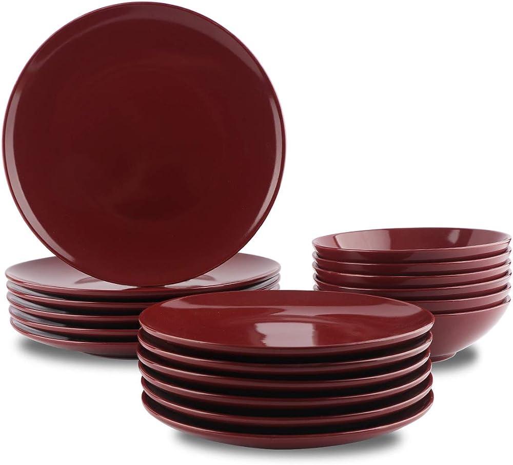 Amazon basics, servizio di piatti, da 18 pezzi , in gres porcellanato QX-08710
