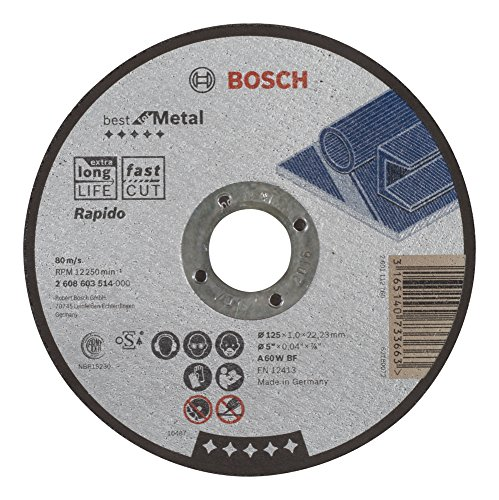 Bosch Professional 2 608 603 514, gerade Trennscheibe für Metall, Rapido, A 60 W BF, 125 mm, 1,0 mm (1 Stück)