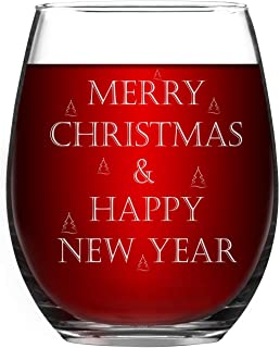Christmas Stemless Wine Glasses, Merry Christmas and Happy New Year Wine Glass Xmas Gifts for Women Sisters Best Friends Girlfriend, 15 Oz Wine Glass Christmas Present