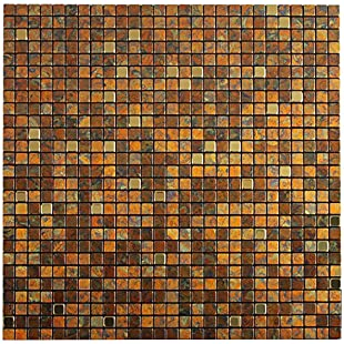 Royllent Modern Metal Aluminum Mosaic Brushed Type Peel&Stick Tiles Kitchen Decoration Backsplash Accent wall Tv&Sofa Background Bathroom Wall Home Dec 1 Sq.ft Gold(14)
