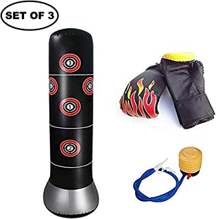 3Pcs/Set Inflatable Boxing Punch Bag Air Inflator Pump &1 Pair Kids Punching Gloves Freestanding Punching Bag MMA Target Stand 63 Tall for Kids Adults