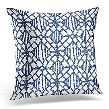 Breezat Throw Pillow Cover Chevron Crochet Pattern Knitting Granny Lace Macrame Boho Style for Interior Design Woven Decorative Pillow Case Home Decor Square 16x16 Inches Pillowcase