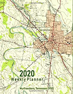 2020 Weekly Planner: Murfreesboro, Tennessee (1950): Vintage Topo Map Cover