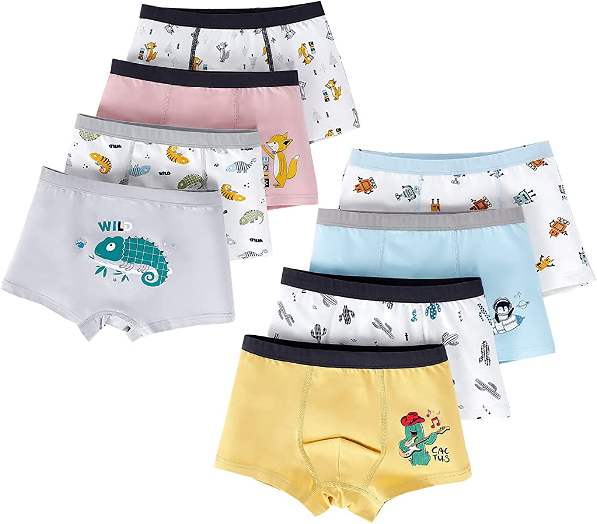 Lashapear Little Boys Cotton Assorted Shorts Boxer Briefs Underwear 8 Pack 2-12 Years